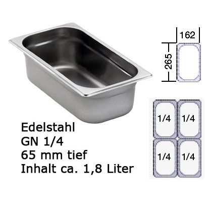 Chafing Dish GN 1/4 edelstahl Behälter