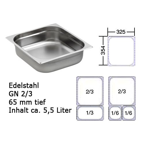Chafing Dish GN 2/3 edelstahl Behälter