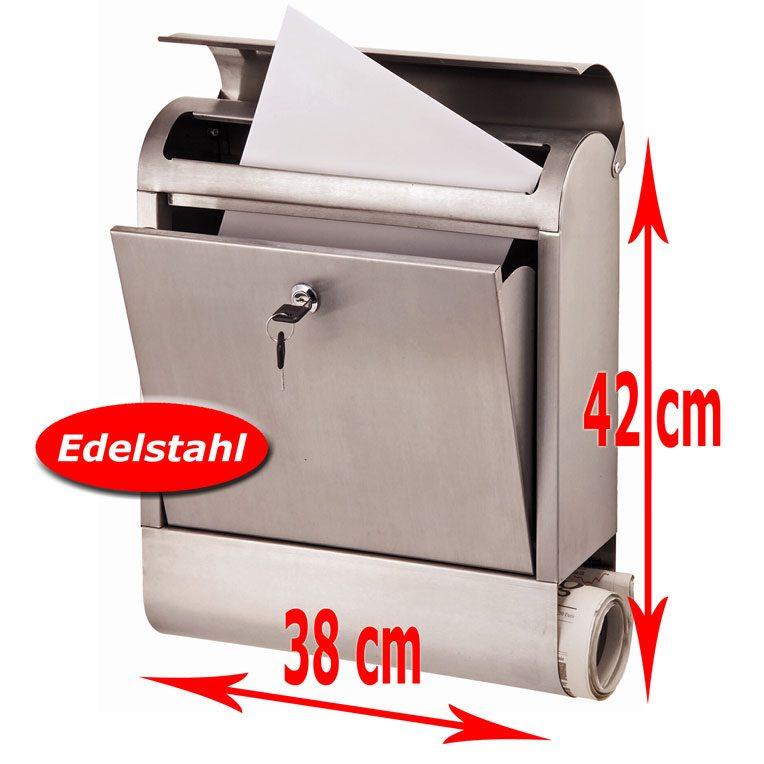 Edelstahl Briefkasten mit Zeitungsfach